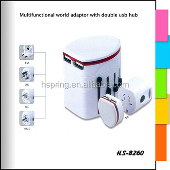2015 Dule USB Most Hot Sale Powerful universal travel adapter