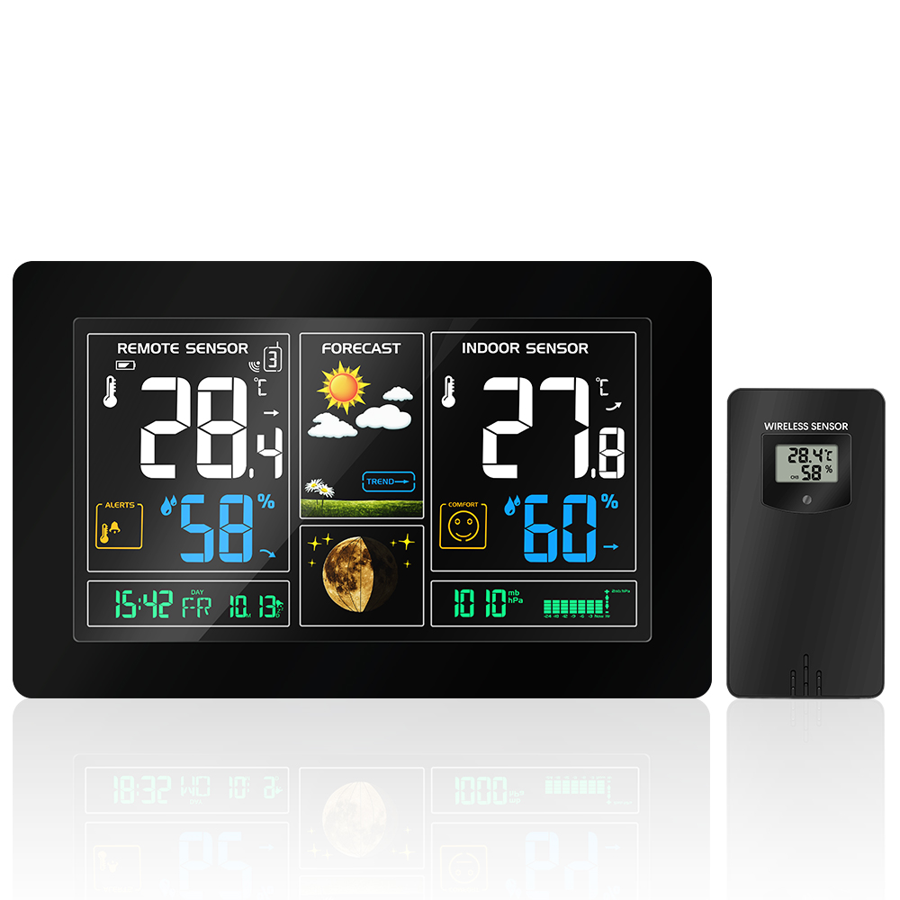 EU Plug Digital Weather Station forecast Weather clock indoor Temperature and humidity meter