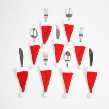 Christmas Decorative Tableware Knife Fork Set Christmas Hat Storage Tool Christmas Decoration <strong>Supplies</strong>