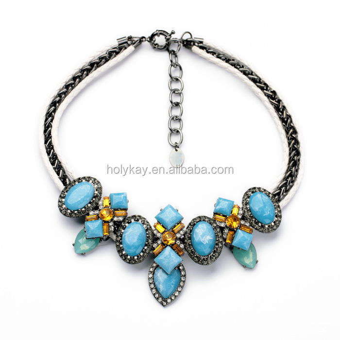 Imitated turquoise gilt frame antique gold chunky necklace unique jewelry