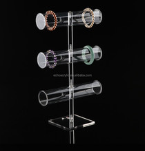 Beautiful sight clear tiers acrylic bangle stand with 5cm tube