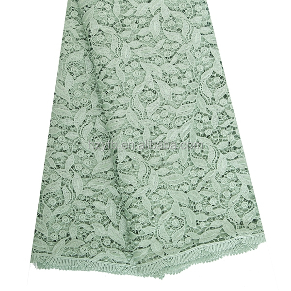 Fashionable pretty comfortable mint green davids peruvian bridal thick lace fabric for girls dress