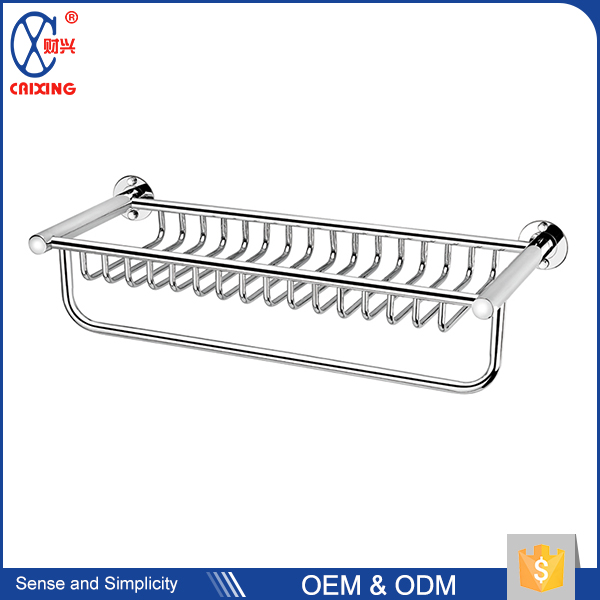 Stainless steel wall mounted hotel towel rack simple bathroom pole shelf