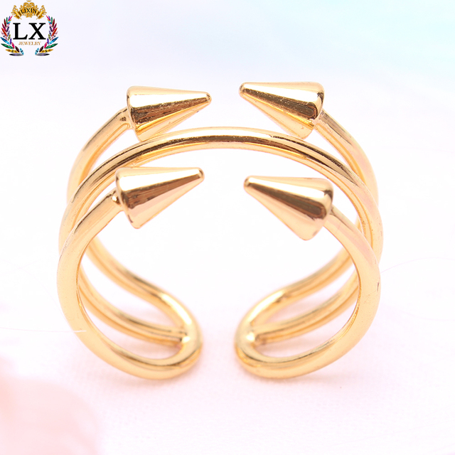 RLX-0357 14k gold arrows engagement wedding ring diamond gold design custom jewelry adjustable finger ring fashion for women