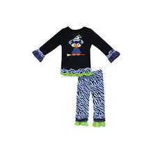 Girls Boutique Clothing Halloween Costume Black Pullover Shirts Zebra Pattern Ruffle Pants Cotton Outfits Baby Clothes