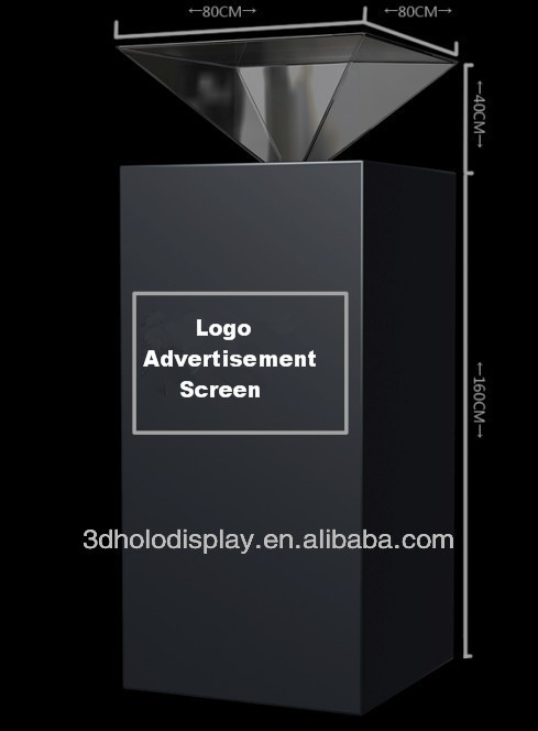 360 Degree 3D Pyramid Hologram Showcase/3D Holo Display Box for the Exhibition and Advertisement