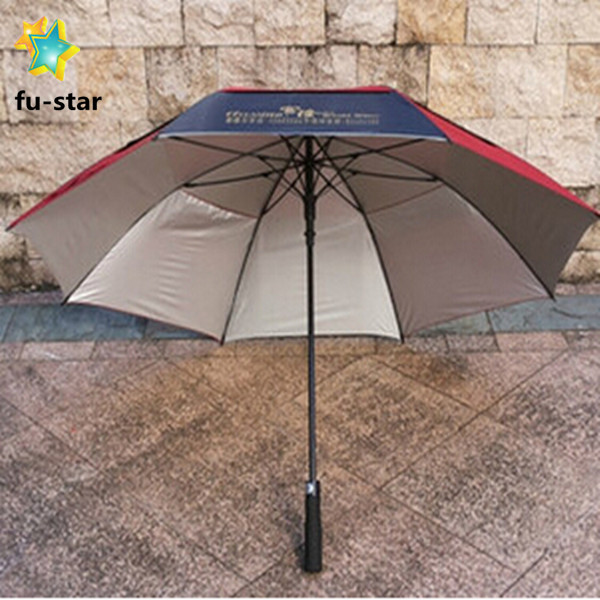 "PN golf advertising hot selling auto open straight windproof silver coated 30"" big bright colored umbrella"