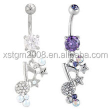 Navel Belly Ring Music Note Dangle Body Piercing jewelry