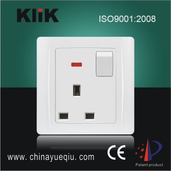 13A 1 Gang 3 pin Types of Electrical Switches socket Electronic Switch