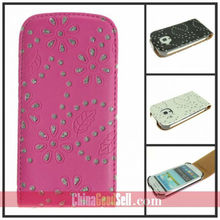 Diamond Leather Flip Case Cover For Samsung Galaxy S3 Mini i8190
