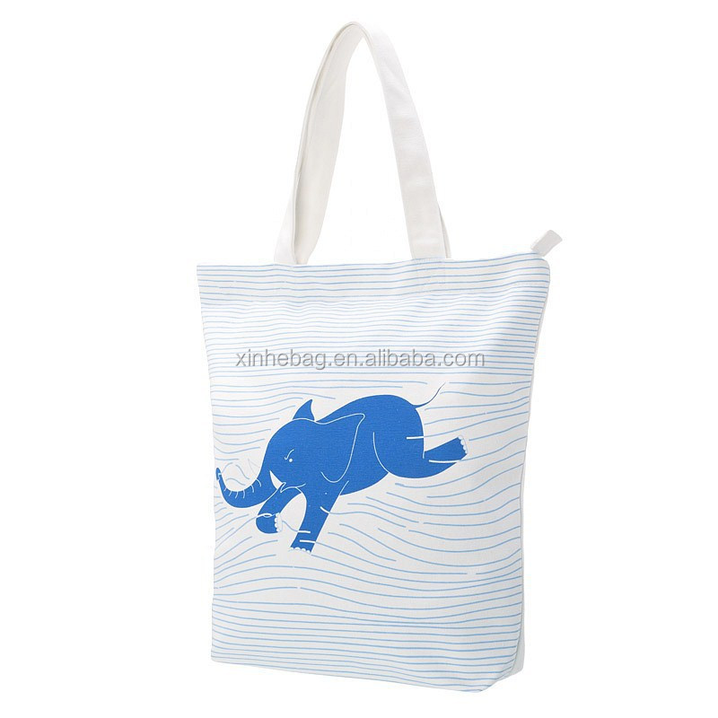 Good quality 100% cotton fabric custom printed tote shopping reusable bag with zipper