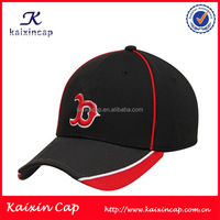 custom red bar mesh fabric stretch fitted caps black 6 panel stretch fitted baseball caps hats