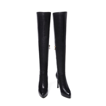 2017 women Western high heel boots,genuine leather pointed toe knee high boots thin heel ladies shoes