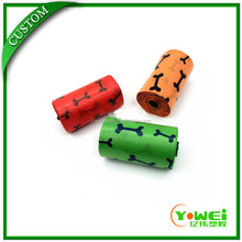 Hot sale scented dog waste bags on roll with bone print