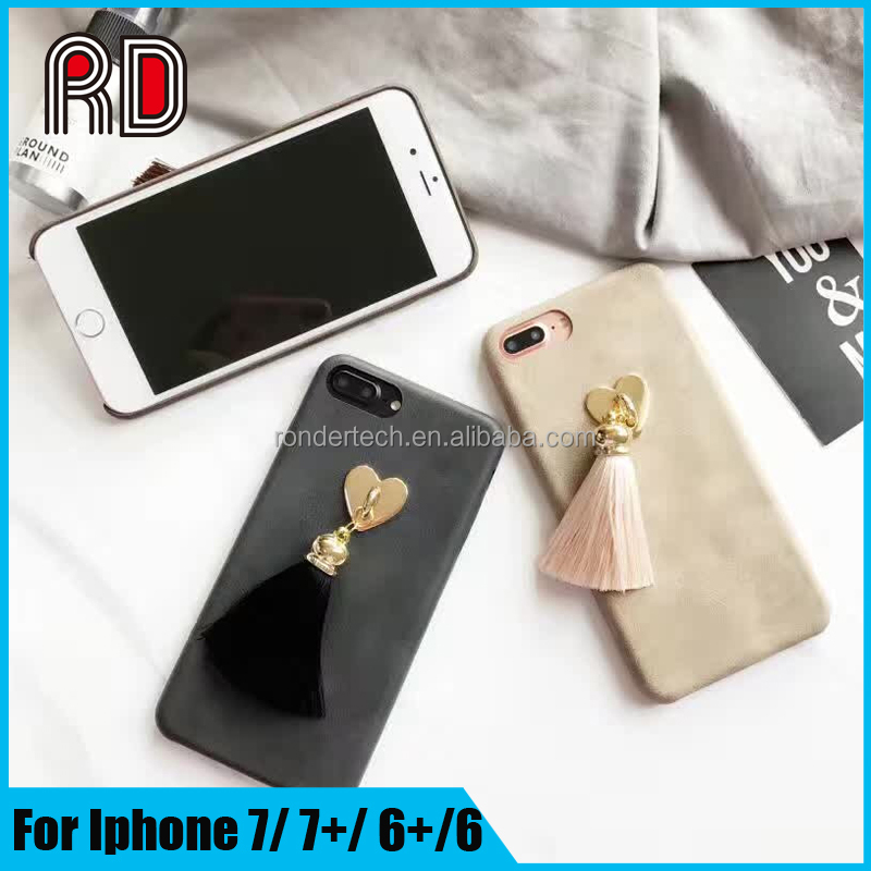 2017 products fundas para celulares chinos universal PU phone case for iphone 7 7 plus case with black heart design Tassels
