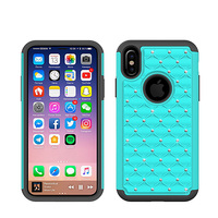 Luxury new unique crystal rhinestone hybrid hard PC and silicone cell phone mobile case for iphone X case