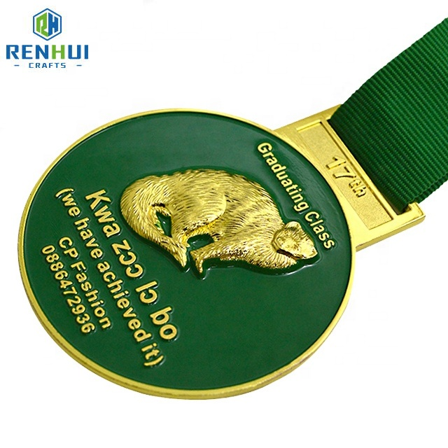 Custom Gold 3D embossed metal enamel sports medal with ribbon