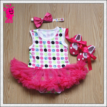 Stock 2016 Girls Baby 3Pieces Suits short tutu Romper +Tutu Skirt infant fashion cartoon summer romper sets