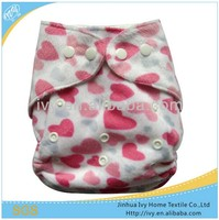 washable reusable baby nappy heart print minky cloth diaper