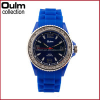 New design oulm quartz watches, diamond case watch, silicnoe blue watch for sale