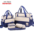 2017 Fast shipping(express ePacket e-EMS)New waterproof 8 colors 5pcs/set High Quality Tote baby shoulder diaper bag HY-T823
