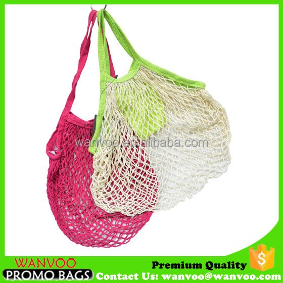 Foldable nature woven cotton net vegetable fruit tote bag grocery packing bag with inside pocket
