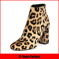 ankle length boots for women/chunky heel/leopard boots