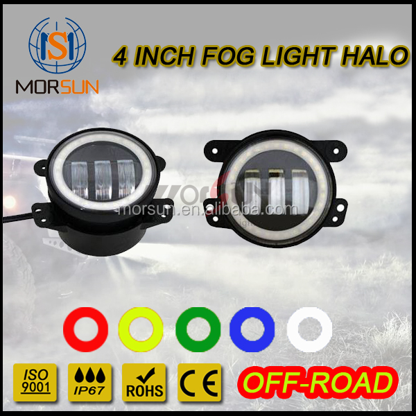 Jeep wrangler fog lamp halo 4inch new design with angel eyes colorful rings