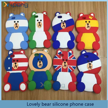 New Arrival National Flag Lovely Bear Silicone Customized Phone Case Cover for samsumg galaxy on5