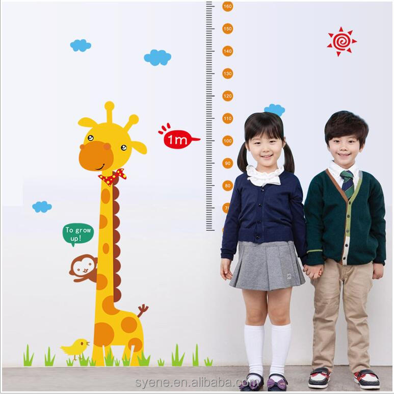Newest kids height wall stickers educational children wall charts child size chart children growth measure chart wall stickers