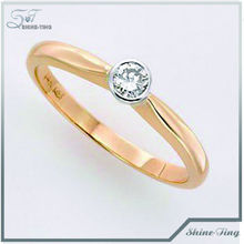 romantic 18k golden plated ring pave diamond for girlfriend