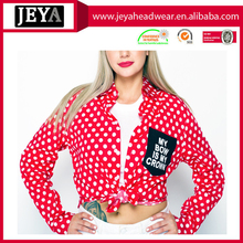 clothing factory red polka dot fabric long sleeve button-up shirt with pocket