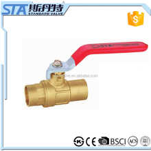 ART.1065 15mm 18mm 22mm CXC Fully Forged Solder Ends In-line Full Port Sweat Lead Free Brass Ball Valve with long steel handle