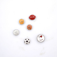 Sport Ball Zinc Alloy Living Floating Lockets Wholesale Silver Small Football Charms