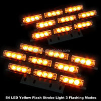 Yellow Amber 54 LED Emergency Flashing Warning Grill Strobe Light for car truck