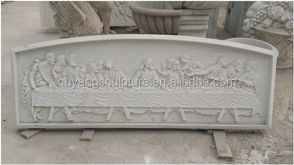 The famous white marble relief, the last supper relief