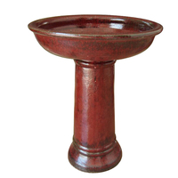 enchanted garden ceramic rustic red bird bath