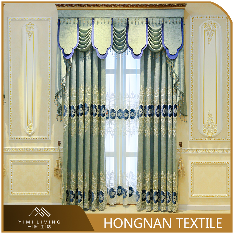 Modern design cheap luxury embroidery bedroom window curtains