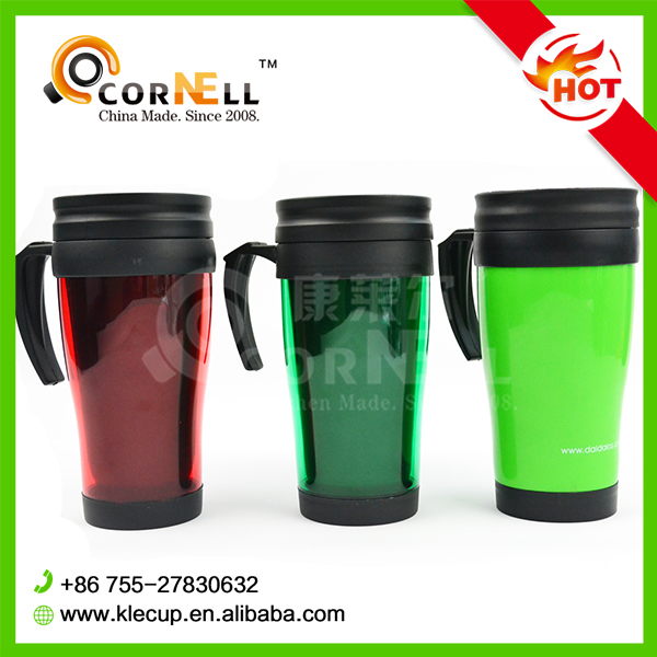 Hot sale customized logo color double wall plastic insulated travel mug FDA LFGB SGS coffee tumbler cup for pomotion with handle