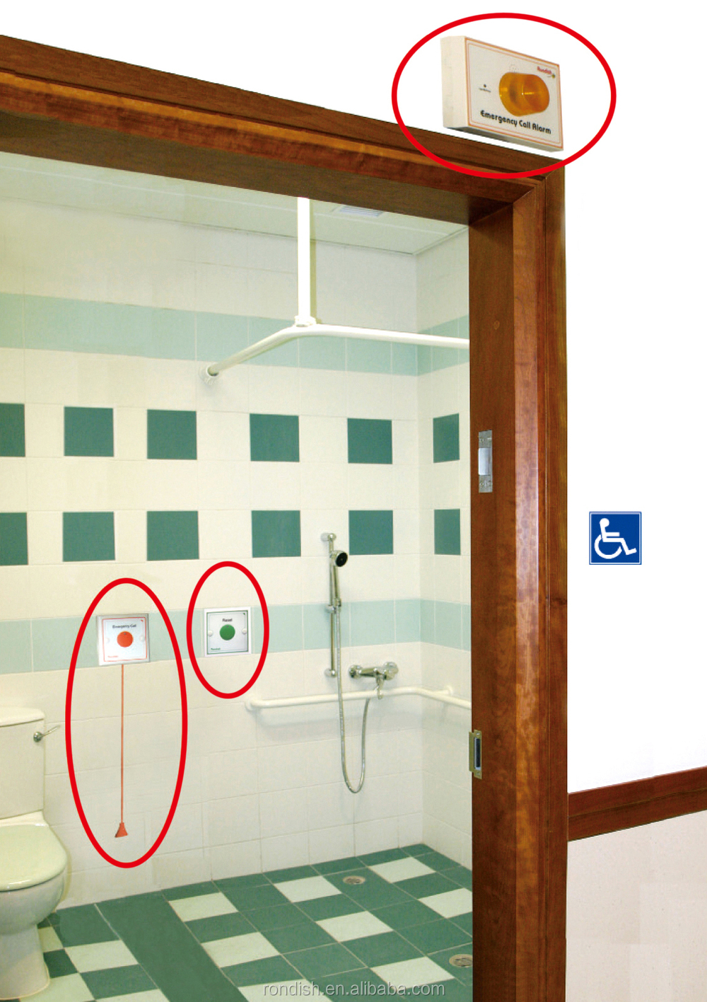Patient Safety Bathroom Emergency Call Button And Pull