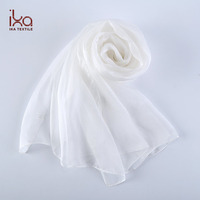 China Wholesale Custom 8mm See Through 100% Silk Chiffon Scarf White for Painting