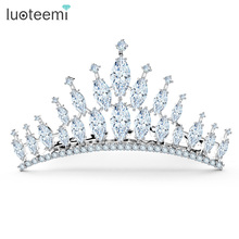 LUOTEEMI 2016 Wholesale Luxury Woman Hapy New Year Bling Marquise Cut CZ Crystal Beauty Pageant Crown Combs Wedding Tiara