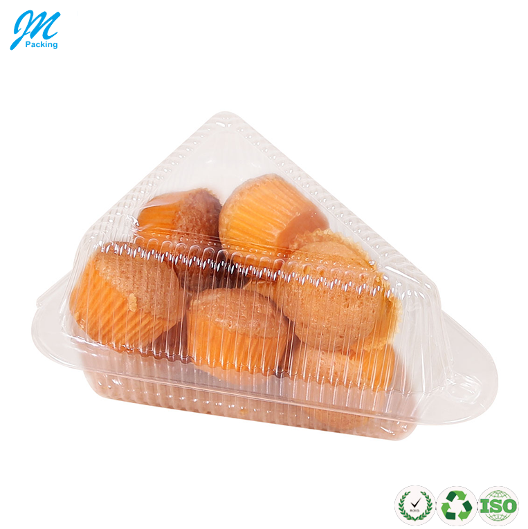 Hot sale plastic clear triangle cupcake tray box packaging with lock point