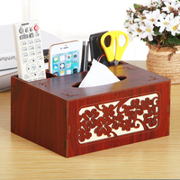 Tissue Box Cover Rectangular multi-function wooden tissue Holder for Home and Office
