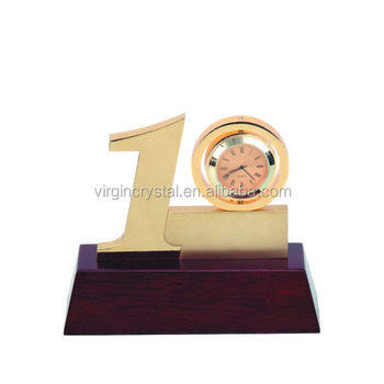 Personalized 10 years anniversary company souvenir gifts with gold clock
