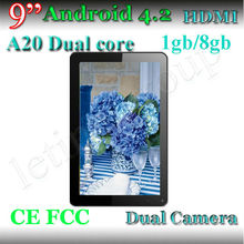 New Arrivals in August 9 inch Android Tablet PC AllWinner A20 Dual Core 1.0GHz 1GB RAM 8GB Android 4.2 WIFI OTG