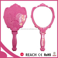 Plastic frame cosmetic princess hand mirror with foldable handle makeup mirror wholesale