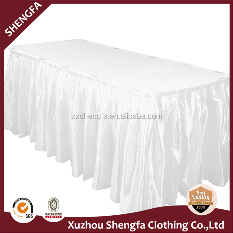 Polyester minimat Fitted Boxed pleat Table skirting with Clips
