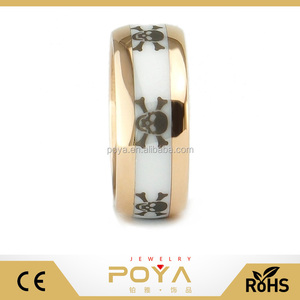 POYA Jewelry 8mm Men Rose Gold Plated Tungsten Carbide Ring White Ceramic Inlay Etched Punk Skull Dome Wedding Engagement Band