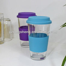 Glass cup with silicone lid